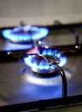 Llamas azules de la estufa de gas Fotografía de archivo libre de regalías