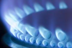 Llamas azules de una estufa de gas Imagen de archivo libre de regalías