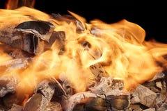 Llamas brillantes y carbón ardiente, XXXL Imagen de archivo
