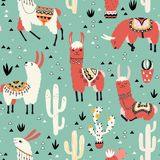 Llamas and cactus in a pot on green vector illustration