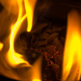Llamas coloridas en fuego Foto de archivo libre de regalías