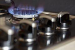 Llamas de la estufa de gas Fotografía de archivo