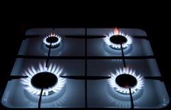 Llamas de la estufa de gas Imagen de archivo