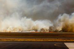 Llamas del fuego bajo del aeropuerto en el EL Salvadore, America Central Imagenes de archivo