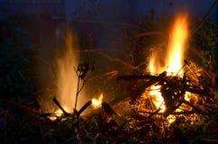 Llamas del fuego en fondo oscuro Fotografía de archivo