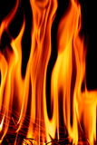 Llamas del fuego en la noche oscura Imágenes de archivo libres de regalías