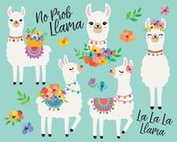 Llamas lindas con el ejemplo del vector de las flores de la primavera ilustración del vector