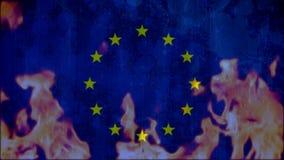 llamas que queman la bandera europea azul stock de ilustración