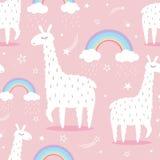 Llamas, rainbow, stars, cute seamless pattern royalty free illustration