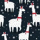 Llamas y nieve, modelo inconsútil stock de ilustración