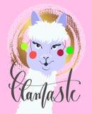 Llamaste - affiche ou carte de voeux drôle avec le beau lama PO illustration libre de droits