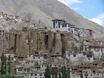Llamayuru, Tibetan temple. Himalay mountains, the view from the top of the mointains. Travelling to Ladakh, summer in Himalayi, Tibetan temple Stock Image