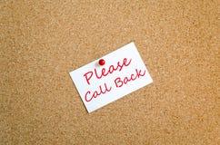 Llame por favor detrás el concepto de la nota Fotografía de archivo libre de regalías