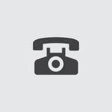 Llame por teléfono al icono en un diseño plano en color negro Ilustración EPS10 del vector Foto de archivo libre de regalías