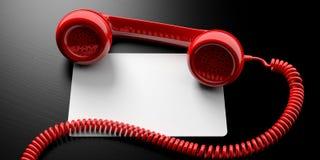 Llame por teléfono al receptor y al documento en blanco sobre el fondo negro, bandera, espacio de la copia ilustración 3D Foto de archivo libre de regalías