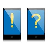 Llame por teléfono con el icono de la atención y llame por teléfono con el icono de la pregunta Fotos de archivo libres de regalías