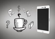 Llame por teléfono contra fondo gris con los ejemplos del gráfico de los iconos del negocio Imágenes de archivo libres de regalías