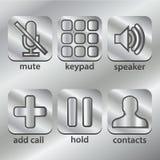 Llame por teléfono, los iconos de la comunicación en el botón del acero del metal stock de ilustración