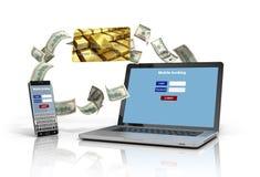 Llame por teléfono y un ordenador portátil con la pantalla de la autentificación, y el crédito Ca libre illustration