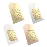 Llame por teléfono a la tarjeta de SIM con el microchip de oro del circuito aislado Imágenes de archivo libres de regalías
