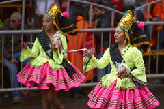 Llamerada dancers at the Oruro Carnival in Bolivia Royalty Free Stock Photo