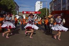 Llamerada dancers at the Oruro Carnival in Bolivia Royalty Free Stock Photos