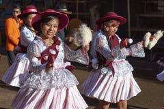 Llamerada dancers at the Oruro Carnival in Bolivia Stock Photo