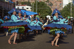 Llamerada dancers at the Oruro Carnival in Bolivia Royalty Free Stock Photography