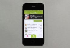 Llamo por teléfono a la exhibición el Dreamstime app Fotos de archivo libres de regalías