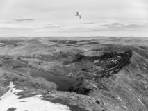 Llan Llydaw visto da cimeira da montagem Snowdon, Gales fotografia de stock royalty free