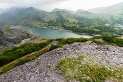 Llanberis, Nant Peris Pass and Dinorwig Slate Quarry Royalty Free Stock Photos