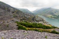 Llanberis, Nant Peris Pass and Dinorwig Slate Quarry Stock Images