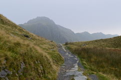 Llanberis Path. Well-travelled path to Mount Snowdon Royalty Free Stock Photo