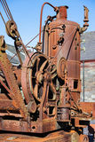 LLANBERIS, WALES/UK - 7 DE OCTUBRE: Grúa vieja oxidada del vapor en el S Imagenes de archivo