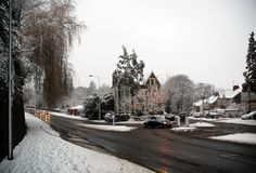 Llandaff. Cardiff covered by snow, horizontally framed shot stock image