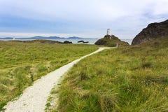 Llanddwyn Inselleuchtturm, Nordwales stockbilder