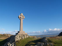 Llanddwyn island Celtic Cross Stock Photography