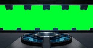 Llanding strip spaceship interior isolated on green background 3. Huge blueish landing strip spaceship interior isolated on green background 3D rendering Royalty Free Stock Photo