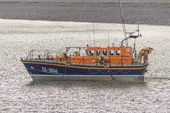 RNLI LIFEBOATS. Llandudno's new £2.2M RNLI Shannon-class lifeboat 'William F Yates' arrived in Llandudno Bay met by old lifeboat Stock Images