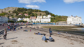 Llandudno beach. The seaside town of Llandudno in wales on a late summers day, UK Royalty Free Stock Photo
