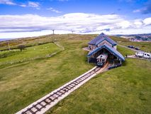 Llandudno, Conwy , Wales, UK - April 22 2018 : The Great Orme Tramway is climbing the mountain.  Royalty Free Stock Photography