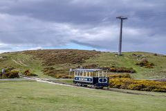 Llandudno, Conwy , Wales, UK - April 22 2018 : The Great Orme Tramway is climbing the mountain.  Stock Photo
