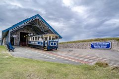 Llandudno, Conwy , Wales, UK - April 22 2018 : The Great Orme Tramway is climbing the mountain.  Royalty Free Stock Image