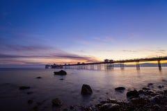 Llandudno-Pier bei Sonnenaufgang Lizenzfreies Stockfoto