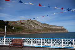 Llandudno pier bunting royalty free stock photos