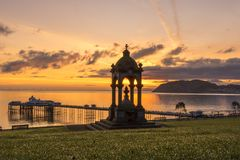 RNLI LIFEBOATS. Llandudno pier sunset morning little orme wales Royalty Free Stock Image