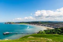 Llandudno Sea Front in North Wales, United Kingdom. Beautiful Summer Day in Llandudno Sea Front in North Wales, United Kingdom stock images
