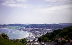 Llandudno Sea Front North Wales, United Kingdom. View of beach in a beautiful summer day, United Kingdom. Views from the Great Orm. E. Photo shoot from the top Stock Image