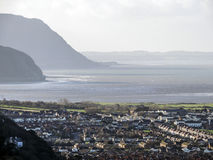 Llandudno town panorama with the Irish Sea and hill in the distance Royalty Free Stock Photo