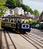 LLandudno, Wales, UK - MAY 27, 2018 A fascinating journey on the vintage blue funicular tramway. nature sightseeing during the tri. A fascinating journey on the Stock Photography